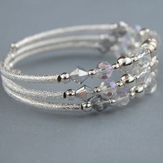 memory wire bracelets | Silver and Crystal Memory Wire Bracelet | Flickr - Photo Sharing! Jewelry Kits, Jewelry Ideas, Diy Jewelry, Jewelry Design, Beaded Jewelry, Knit Bracelet, Bracelets, Wire Jewellery, Wire Name