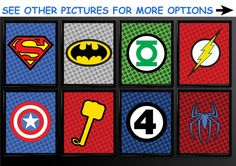Set of 3 Superhero Kids Wall Art Decor Nursery Superman Batman Robin Comic Book Superheroes Batgirl Spider-Man Flash Thor Dark Knight X-Men