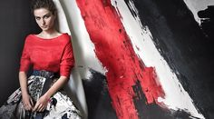 Bright red and black are juxtaposed in Donna Karan S/S 2015 campaign
