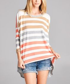 This Peach & Gray Stripe Hi-Low Tunic is perfect! #zulilyfinds