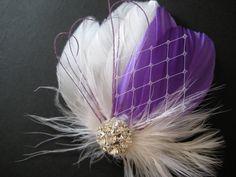 Wedding Bridal White Purple Feather Rhinestone Jewel Veiling Head Piece Hair Clip Fascinator Accessory. via Etsy.