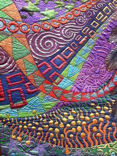 http://bluemountaindaisy.blogspot.com/2011/06/craft-and-quilt-fair-part-2.html  art quilt by Helen Goldin