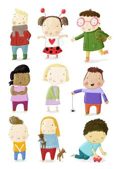 Some character's that have been hiding in my sketchbook. Cute Illustration, Illustration Children, People Illustration, Character Illustration, Painting For Kids, Art For Kids, Cute Characters, Arte Digital, Drawing