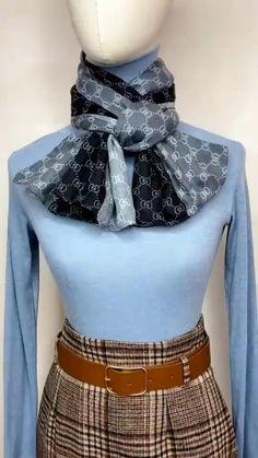 Ways To Tie Scarves, Ways To Wear A Scarf, How To Wear Scarves, Scarf Knots, Diy Scarf, Tying A Scarf, Look Fashion, Diy Fashion, Ideias Fashion