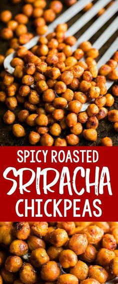 Let a little fire in on the fun with these Sriracha Roasted Chickpeas! They're g… Let a little fire in on the fun with these Sriracha Roasted Chickpeas! They're great for snacking and taste amazing on top of salads, hummus, and grain bowls too. Healthy Bedtime Snacks, Healthy Vegan Snacks, Healthy Eating, Healthy Recipes, Healthy Protein, Vegan Lunches, Eating Raw, Vegan Dinners, Lunch Recipes