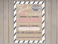Pancake and Pajamas Invitation First Birthday Printable Vintage Typography Navy Pink Stripe on Etsy, $16.00