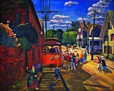 John French Sloan - Gloucester Trolley, 1917