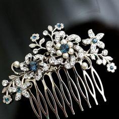 Wedding Hair Comb, Rhinestone Flowers and Vintage leaves, Montana Blue, Wedding Hair Accessories, Bridal Side Comb, Ivory Pearl  SABINE. $87.00, via Etsy.