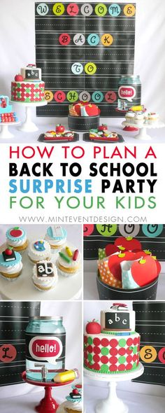 Come see How to Plan a Back to School Surprise Party for your kids and celebrate their first day of school with a super cute dessert table and party decorations with apples and chalkboards. Party Styling by Mint Event Design in Austin, Texas www.minteventdesign.com  a #backtoschool #backtoschoolideas #kidsparty #kidspartyideas #kidsparties #partyideas #partycakes