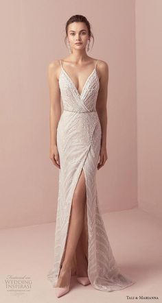 Tali & Marianna 2018 Wedding Dresses – The One Bridal Collection dress # … dress The post Romantic wedding dress idea – deep wedding dress with V back, lace details and appeared first on Woman Casual - Wedding Gown Dream Wedding Dresses, Bridal Dresses, Wedding Gowns, Bridesmaid Dresses, Prom Dresses, Formal Dresses, Wedding Ceremony, Art Deco Wedding Dress, Lazaro Wedding Dress