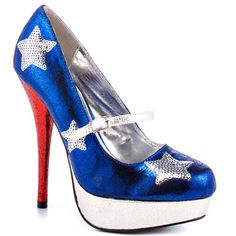 Let freedom ring in the Patriotic pump by Rupaul's Drag Race.  A blazing blue upper is accompanied by silver trim, 1 inch platform and sequin stars.  A bright red stiletto delivers a 5 1/2 inch heel. - HighOnShoes.com