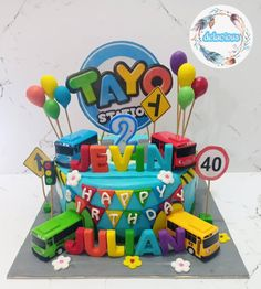 Tayo the little bus 💙💚💛❤️ 1st Birthday Party Themes, 2 Birthday Cake, Trains Birthday Party, Birthday Ideas, Bus Cake, Tayo The Little Bus, Food Themes, Hana, First Birthdays