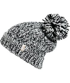 This cuffed style beanie is made with a mixed black and white marled knit construction finished with a large pom at the top and a logo tag on the cuff.