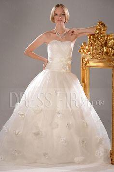 Attractive Ball Gown Strapless Floor-Length Chapel Appliques Wedding Dress