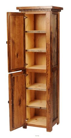 Store your linens or pantry items with this rustic and refurbished log cabin style cabinet by Mountain Woods Furniture.