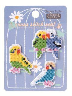 sandylandya@outlook.es Budgie Parakeet cross stitch sticker by SweetSuppliesStore on Etsy, $4.50