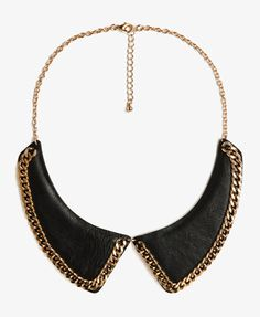 Faux Leather Chain Collar