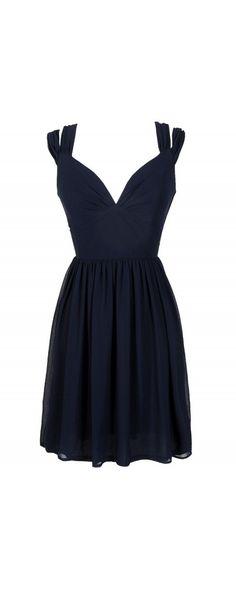 Dual Strap Off Shoulder Chiffon Dress in Navy.   http://www.lilyboutique.com/dual-strap-off-shoulder-chiffon-dress-in-navy.html