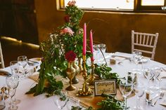 We love being able to break out of traditional moulds and being allowed to just have fun. Sam and Scott wanted lots of pinks, purples, magenta, fuchsia and plenty of green. Combined with brass and hot-pink candles, this look is to die for! www.jademcintoshflowers.com.au www.cavanaghphotography.com