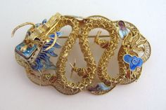 Vintage Deco Chinese Export Enamel Pin Sterling Gold Gilt Vermeil Dragon Serpent | eBay