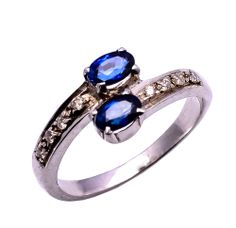 925 sterling silver Ring with Blue Sapphire & Rose cut diamond https://www.etsy.com/people/asianjewellers09?ref=si_pr http://www.ebay.com/usr/asianjewellers