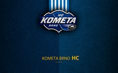 Download wallpapers HC Kometa Brno, 4k, logo, leather texture, Czech hockey club, Extraliga, Brno, Czech Republic, hockey