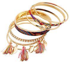 Rhinestone Tassel Ethnic Bracelets ($3.64) ❤ liked on Polyvore featuring jewelry, bracelets, rhinestone bangle, rhinestone jewelry and tassel jewelry