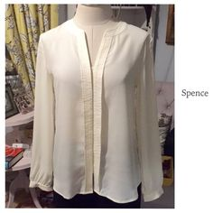PRETTY PROFESSIONAL BLOUSE ~ NWOT  Classy Cream Color Professional Blouse ~ Hidden buttons ~ Wear with cami underneath or under a blazer or jacket Trades ✅Use offer Option ❤️Bundles Spense Tops Blouses
