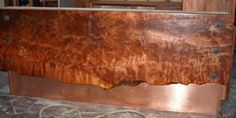 16ft 4 inch thick live edge redwood slab bar face and top