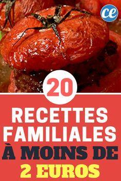 """Notre Livre de Cuisine """"20 Recettes Familiales à Moins de 2 €"""" à Télécharger Gratuitement."""