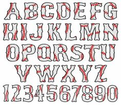 Baseball Font Alphabet Numbers Embroidery by TheEmbroideryClub