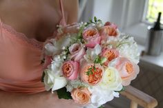 The loveliest Coral, Peach and Cream Wedding Bouquet