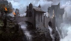 Kai Fine Art is an art website, shows painting and illustration works all over the world. Fantasy City, Fantasy Castle, Fantasy Places, High Fantasy, Medieval Fantasy, Fantasy World, Dungeons And Dragons, Fantasy Concept Art, Fantasy Artwork