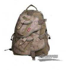 Vintage military laptop backpack khaki, army green, black