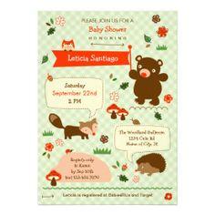 Woodland Animals Baby Shower Invitation