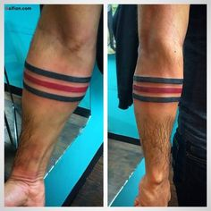 Incredible Armband Men Tattoo Made With Red And Blue Ink