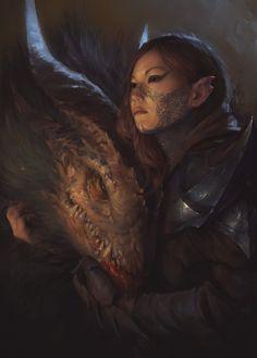 demon and girl, Vyacheslav Safronov on ArtStation at https://www.artstation.com/artwork/xmOJR
