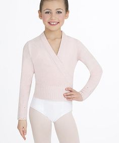 Look at this #zulilyfind! Pink Cropped Wrap Sweater - Toddler & Girls by Capezio #zulilyfinds