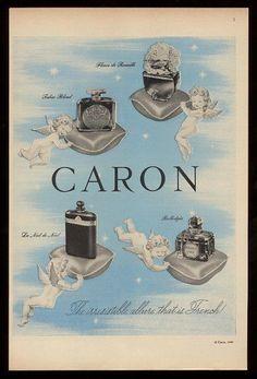 1949 Caron perfume 4 bottle photo & cherub angel art vintage print ad