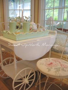 Sweet Up-North Mornings...: Shabby Tea Cart....tablescape~