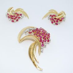 $3,000.00 | 1950's 1 x Pair of 18k Gold Diamond Natural Burma Ruby Earrings 7.78CT by Casa Castro