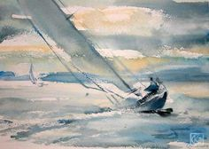 The world in water-color in sterkhov's on-line art gallery Watercolor Art Lessons, Watercolor Landscape Paintings, Watercolor Artwork, Watercolor Techniques, Landscape Art, Nautical Painting, Sailboat Painting, Sailboat Drawing, Boat Art