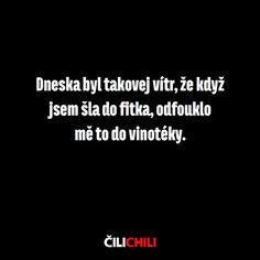 Dneska byl takový vítr, že když jsem šla do fitka, odfouklo mě to do vinotéky. Jokes Quotes, Memes, Weird Words, Writing Inspiration, Motto, Sarcasm, Haha, Funny Pictures, Language
