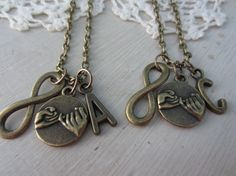 Personalized Best Friends Infinity Pinky Promise Necklaces..saw this and thought of you @Lorrie Nelson