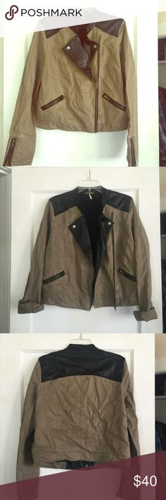 Free people began moto jacket Vegan leather. Perfect used condition with no flaws. All zippers and snaps work. Khaki/light olive color. Size 12 for a fitted size. Would fit down to a size 6 in an oversized type of fit. Feel free to ask any questions! Free People Jackets & Coats