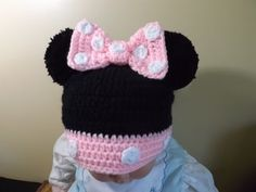 Crochet Minnie Mouse Hat - YouTube