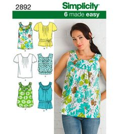 Simplicity 2892 Sewing Pattern Easy Misses' Summer Tops Diy Clothing, Sewing Clothes, Clothing Patterns, Shirt Patterns, Look Fashion, Diy Fashion, Sewing Tutorials, Sewing Crafts, Sewing Projects