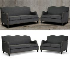 Add a classic touch and modern appeal to your living space with this contemporary sofa set featuring stylish curves on the backrest and arms, bronze nail head trim details, birch frame, black legs with non-marking feet and dark gray elegant linen-polyester upholstery to offer a higher level of comfort and beauty to you, your family and your guests. Includes one sofa and loveseat. Living Room Sets, Living Spaces, Banquette Bench, Sofa And Loveseat Set, Nail Head, Settee, Hollywood Regency, Contemporary Furniture, Home Furnishings