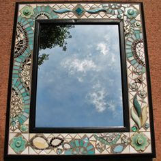 mirror with turquoise and green coloured glass frame - Google Search