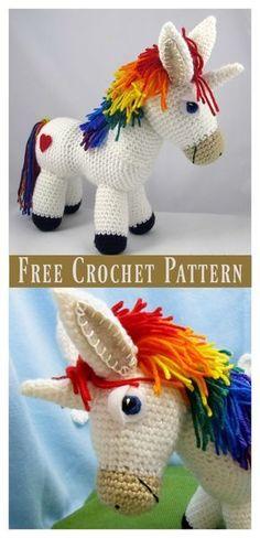 Rainbow Unicorn Amigurumi Free Crochet Pattern #freecrochetpatterns